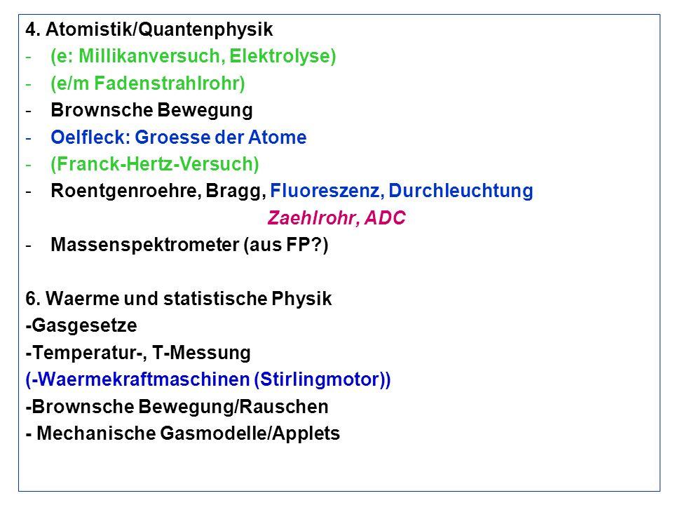 4. Atomistik/Quantenphysik -(e: Millikanversuch, Elektrolyse) -(e/m Fadenstrahlrohr) -Brownsche Bewegung -Oelfleck: Groesse der Atome -(Franck-Hertz-V