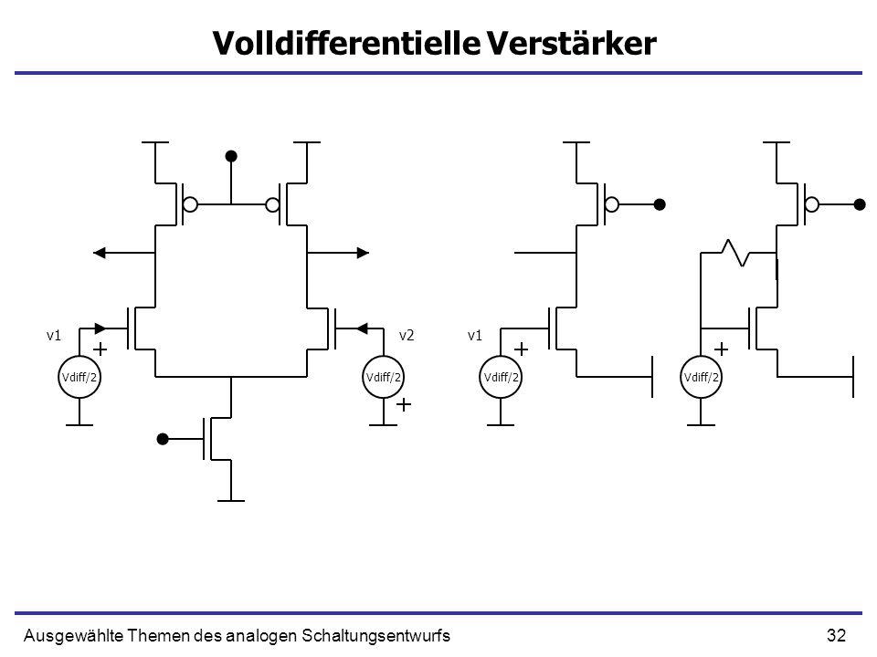 32Ausgewählte Themen des analogen Schaltungsentwurfs Volldifferentielle Verstärker Vdiff/2 v1v2 Vdiff/2 v1 Vdiff/2