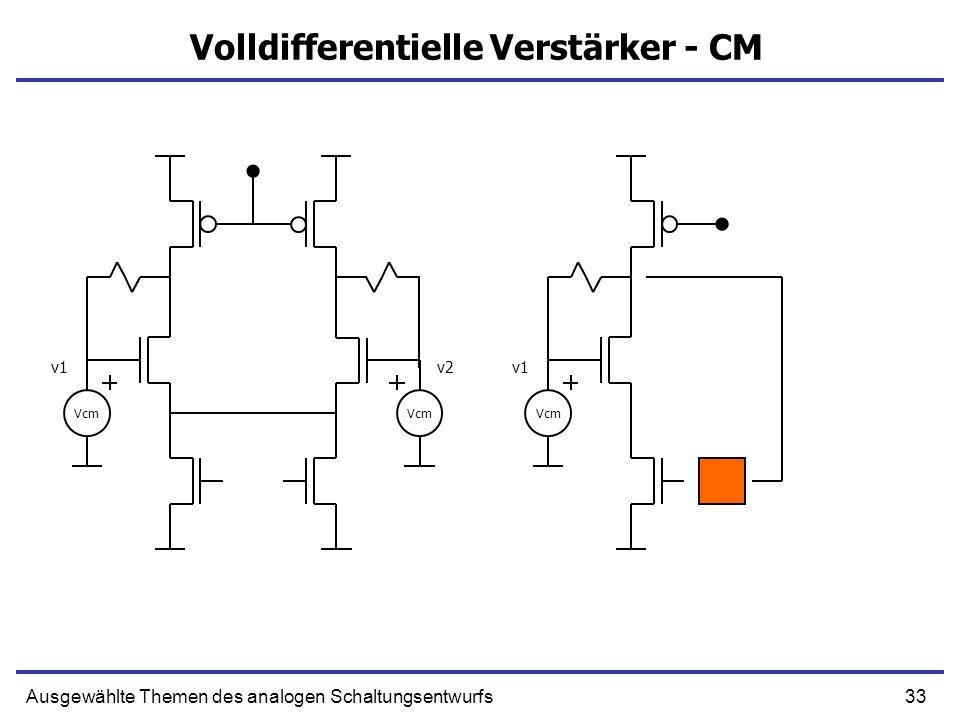 33Ausgewählte Themen des analogen Schaltungsentwurfs Volldifferentielle Verstärker - CM Vcm v1v2 Vcm v1
