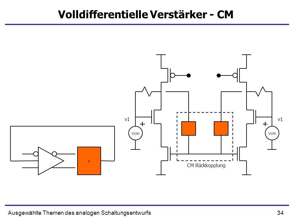 34Ausgewählte Themen des analogen Schaltungsentwurfs Volldifferentielle Verstärker - CM + Vcm v1 Vcm v1 CM Rückkopplung