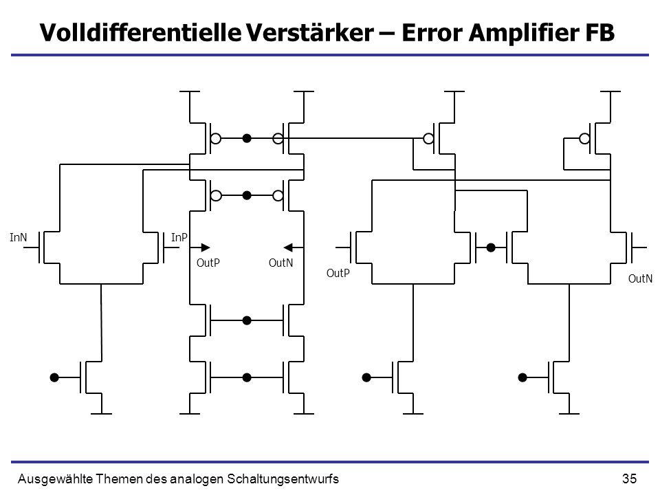 35Ausgewählte Themen des analogen Schaltungsentwurfs Volldifferentielle Verstärker – Error Amplifier FB OutP OutN OutPOutN InNInP