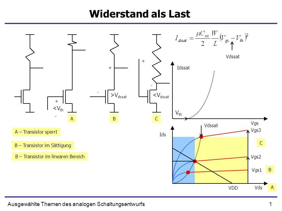 1Ausgewählte Themen des analogen Schaltungsentwurfs Widerstand als Last + <V dssat - + - >V dssat + <V th ABC A – Transistor sperrt B – Transistor im Sättigung B – Transistor im linearen Bereich - Ids Vds Vgs1 Vgs2 Vgs3 VDD B C A Vgs Idssat V th Vdssat