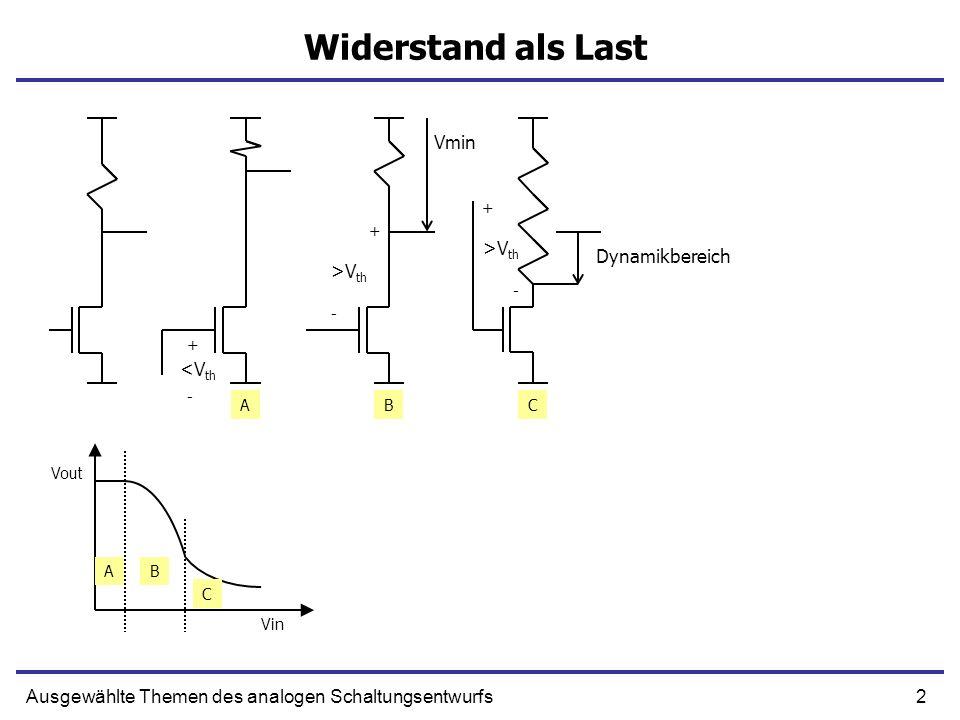 2Ausgewählte Themen des analogen Schaltungsentwurfs Widerstand als Last + >V th - + - + <V th AB C ABC - Vout Vin Vmin Dynamikbereich