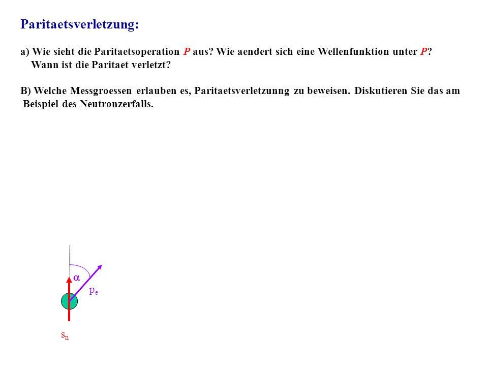 Paritaetsverletzung: a) Wie sieht die Paritaetsoperation P aus? Wie aendert sich eine Wellenfunktion unter P? Wann ist die Paritaet verletzt? B) Welch