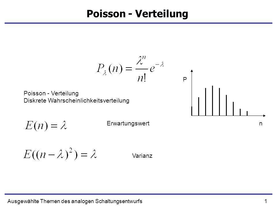 1Ausgewählte Themen des analogen Schaltungsentwurfs Poisson - Verteilung Diskrete Wahrscheinlichkeitsverteilung Erwartungswert Varianz n P