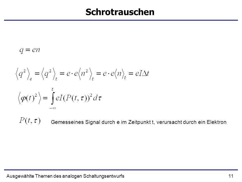 11Ausgewählte Themen des analogen Schaltungsentwurfs Schrotrauschen Gemesseines Signal durch e im Zeitpunkt t, verursacht durch ein Elektron