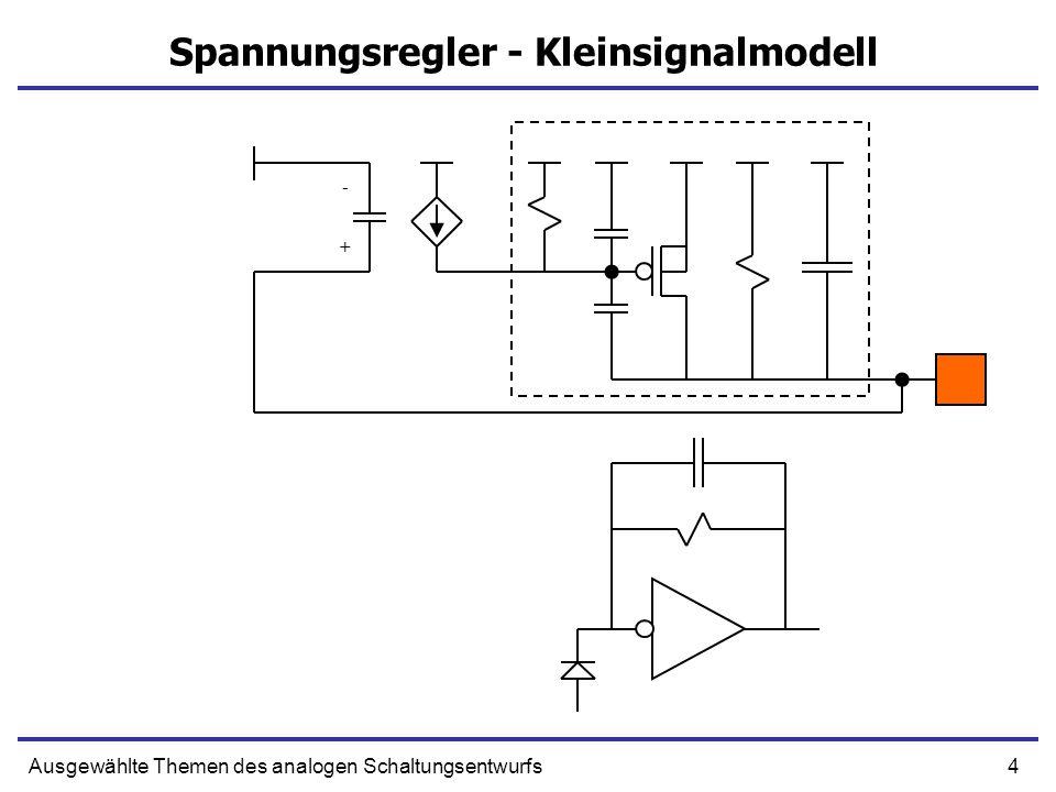 5Ausgewählte Themen des analogen Schaltungsentwurfs Invertierender Verstärker + - RgCg Cf Cd Rd Vgs gmVgs
