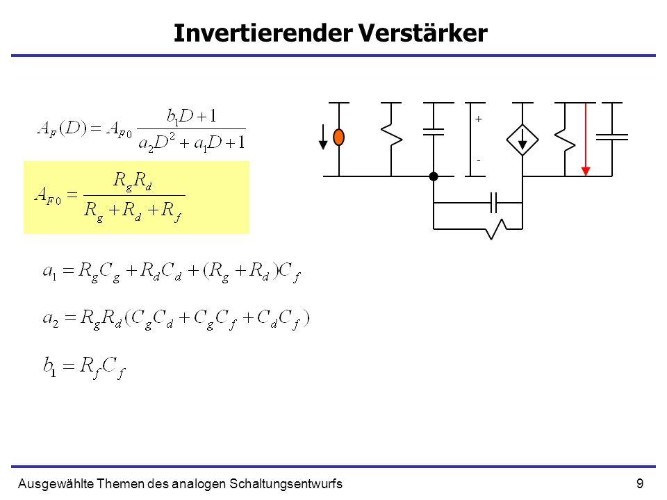 9Ausgewählte Themen des analogen Schaltungsentwurfs Invertierender Verstärker + -