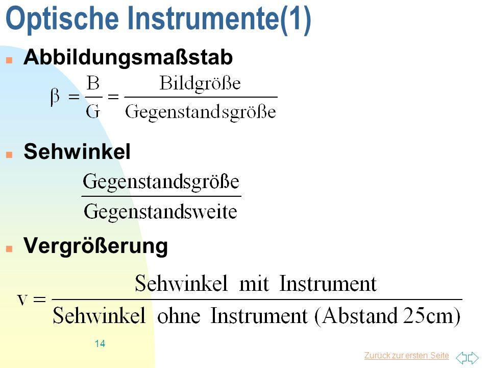 Zurück zur ersten Seite 14 Optische Instrumente(1) Abbildungsmaßstab Sehwinkel Vergrößerung