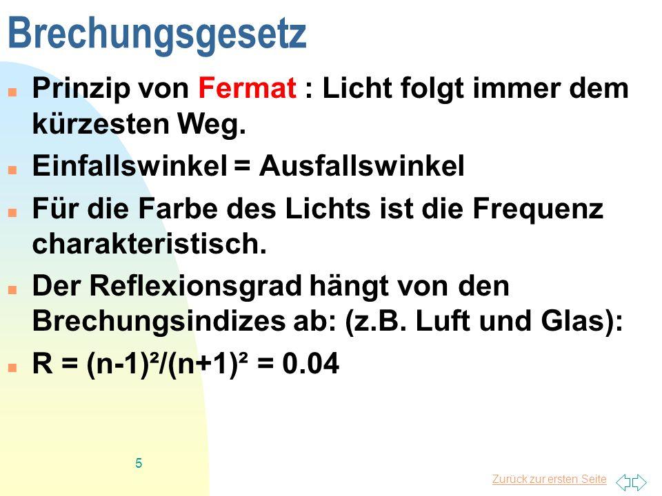 Zurück zur ersten Seite 5 Brechungsgesetz Prinzip von Fermat : Licht folgt immer dem kürzesten Weg. Einfallswinkel = Ausfallswinkel Für die Farbe des