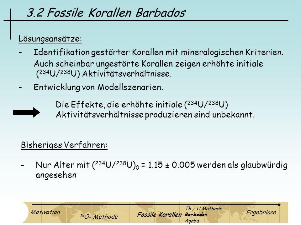 3.2 Fossile Korallen Barbados Lösungsansätze: -Identifikation gestörter Korallen mit mineralogischen Kriterien. Auch scheinbar ungestörte Korallen zei