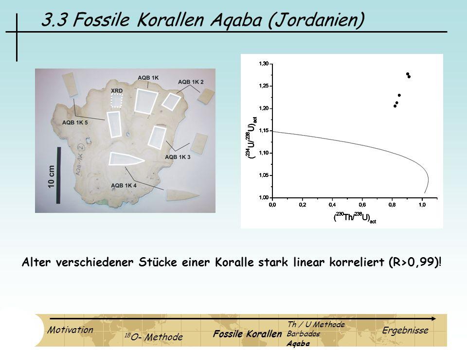 3.3 Fossile Korallen Aqaba (Jordanien) Alter verschiedener Stücke einer Koralle stark linear korreliert (R>0,99)! Motivation 18 O- Methode Fossile Kor