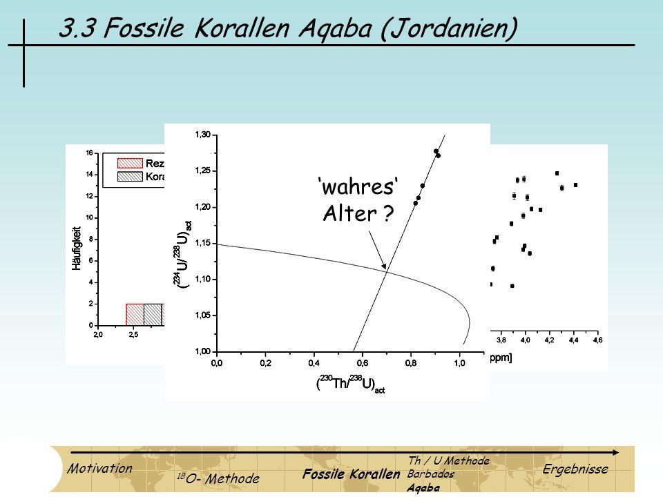 3.3 Fossile Korallen Aqaba (Jordanien) wahres Alter ? Motivation 18 O- Methode Fossile Korallen Ergebnisse Th / U Methode Barbados Aqaba