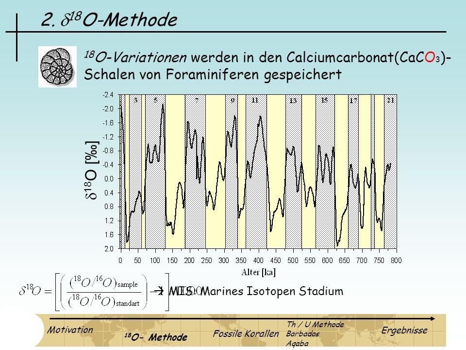 2. 18 O-Methode 18 O [] 18 O-Variationen werden in den Calciumcarbonat(CaCO 3 )- Schalen von Foraminiferen gespeichert Motivation 18 O- Methode Fossil