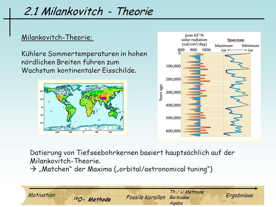 2.1 Milankovitch - Theorie Milankovitch-Theorie: Kühlere Sommertemperaturen in hohen nördlichen Breiten führen zum Wachstum kontinentaler Eisschilde.