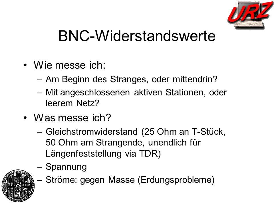 BNC-Widerstandswerte Wie messe ich: –Am Beginn des Stranges, oder mittendrin? –Mit angeschlossenen aktiven Stationen, oder leerem Netz? Was messe ich?