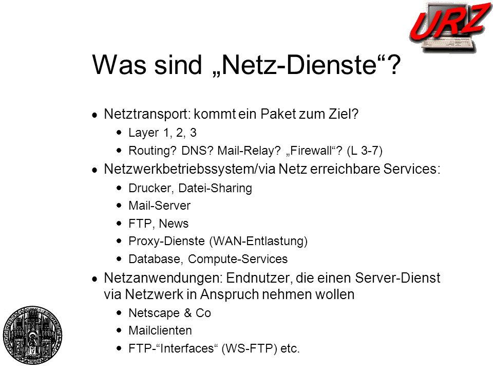 Was sind Netz-Dienste? Netztransport: kommt ein Paket zum Ziel? Layer 1, 2, 3 Routing? DNS? Mail-Relay? Firewall? (L 3-7) Netzwerkbetriebssystem/via N
