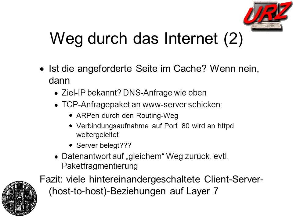 Weg durch das Internet (2) Ist die angeforderte Seite im Cache? Wenn nein, dann Ziel-IP bekannt? DNS-Anfrage wie oben TCP-Anfragepaket an www-server s