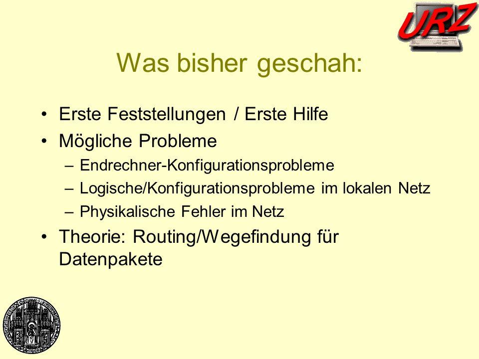 Was bisher geschah: Erste Feststellungen / Erste Hilfe Mögliche Probleme –Endrechner-Konfigurationsprobleme –Logische/Konfigurationsprobleme im lokale