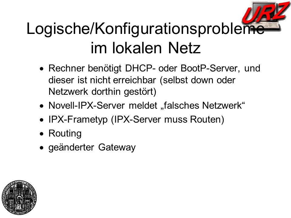 Logische/Konfigurationsprobleme im lokalen Netz Rechner benötigt DHCP- oder BootP-Server, und dieser ist nicht erreichbar (selbst down oder Netzwerk d