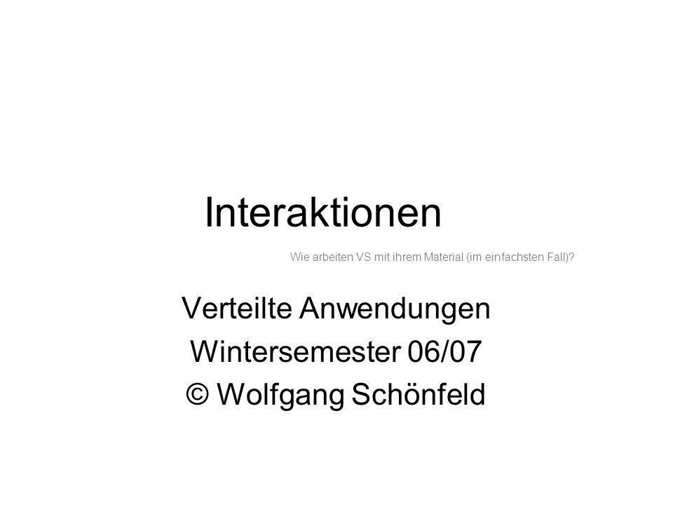 Interaktionen Verteilte Anwendungen Wintersemester 06/07 © Wolfgang Schönfeld Wie arbeiten VS mit ihrem Material (im einfachsten Fall)?