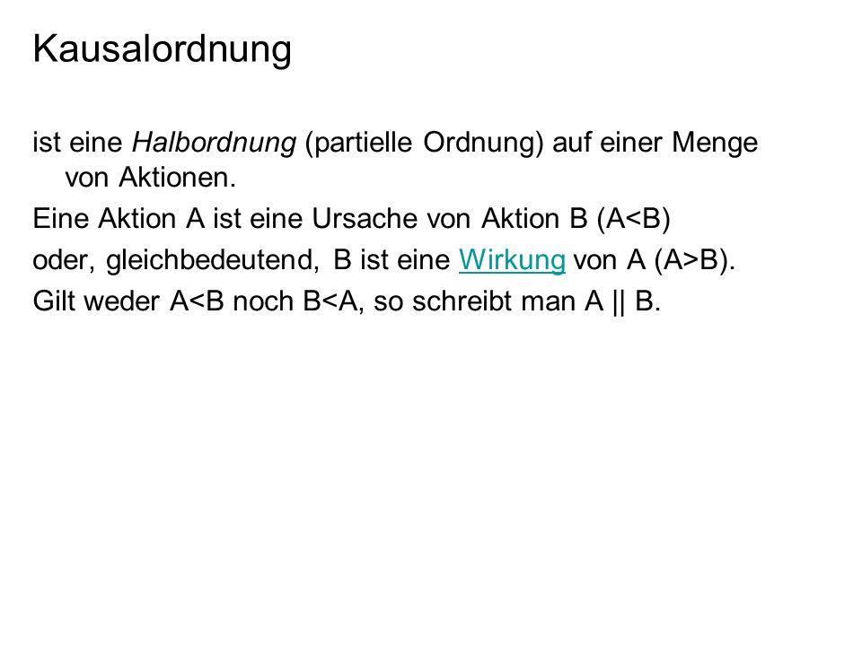 Zeit und Kausalordnung Liegt eine Aktion A in der Kausalordnung vor einer Aktion B, so muss A vor B stattfinden.