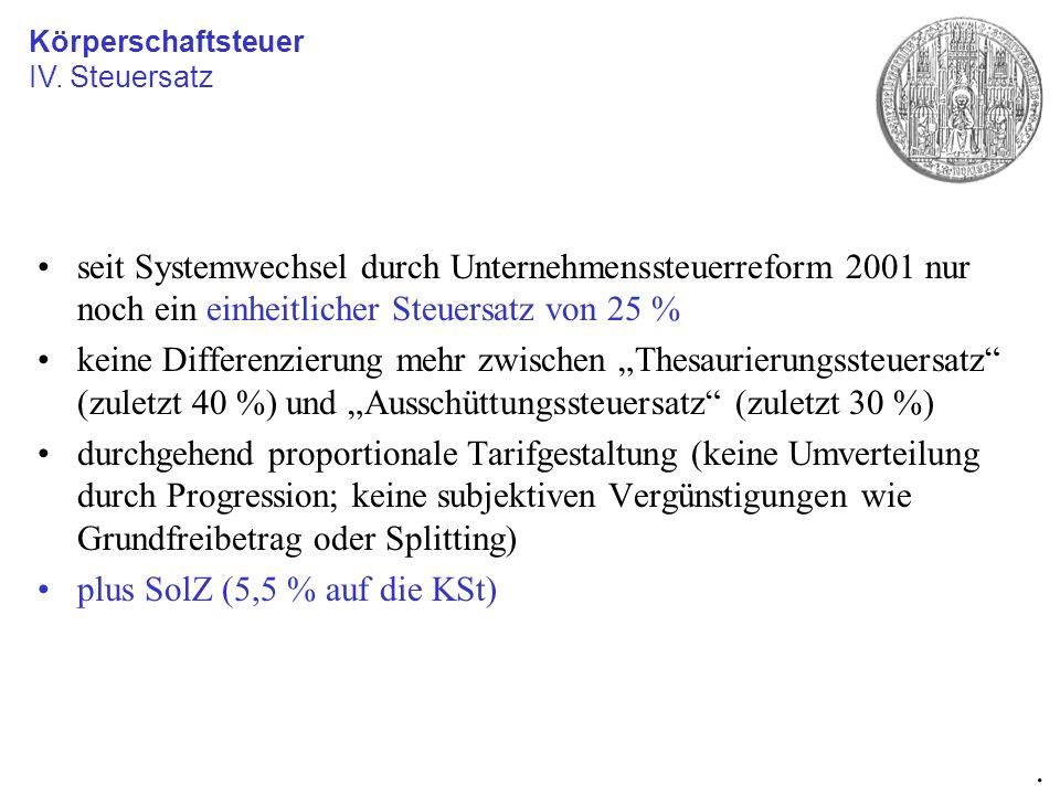 seit Systemwechsel durch Unternehmenssteuerreform 2001 nur noch ein einheitlicher Steuersatz von 25 % keine Differenzierung mehr zwischen Thesaurierun