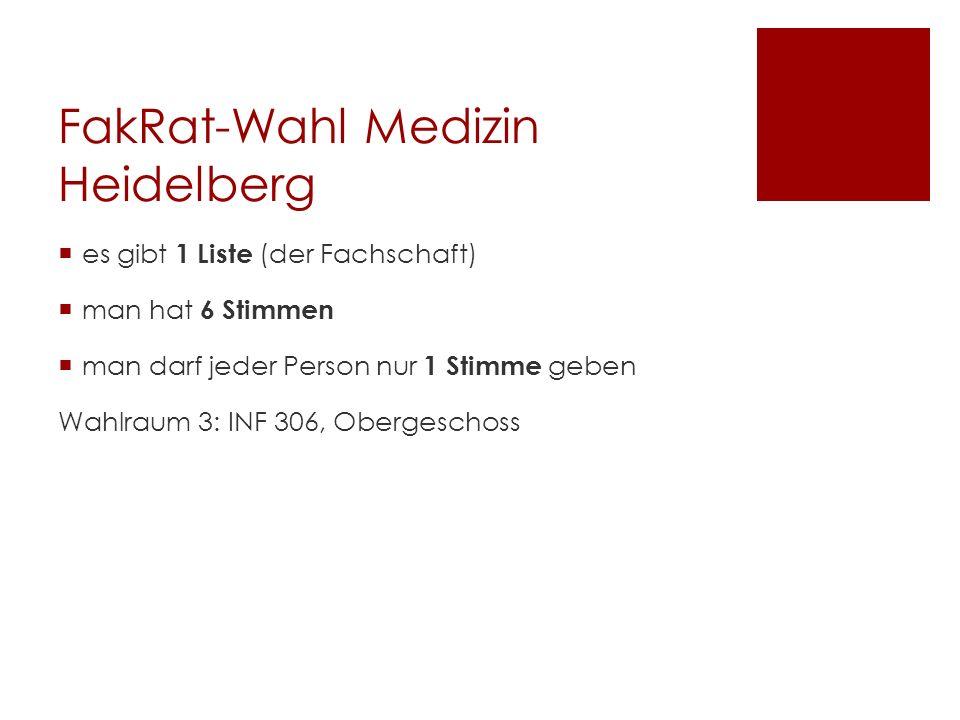 FakRat-Wahl Medizin Heidelberg es gibt 1 Liste (der Fachschaft) man hat 6 Stimmen man darf jeder Person nur 1 Stimme geben Wahlraum 3: INF 306, Obergeschoss