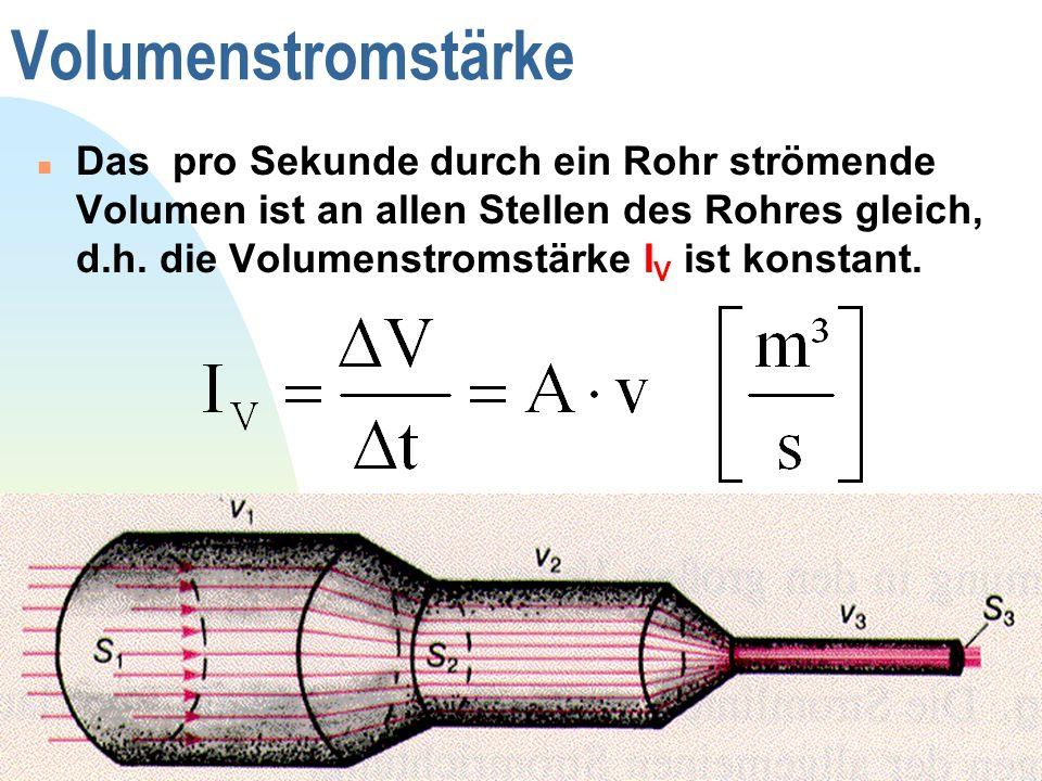 Zurück zur ersten Seite 7 Volumenstromstärke Das pro Sekunde durch ein Rohr strömende Volumen ist an allen Stellen des Rohres gleich, d.h. die Volumen