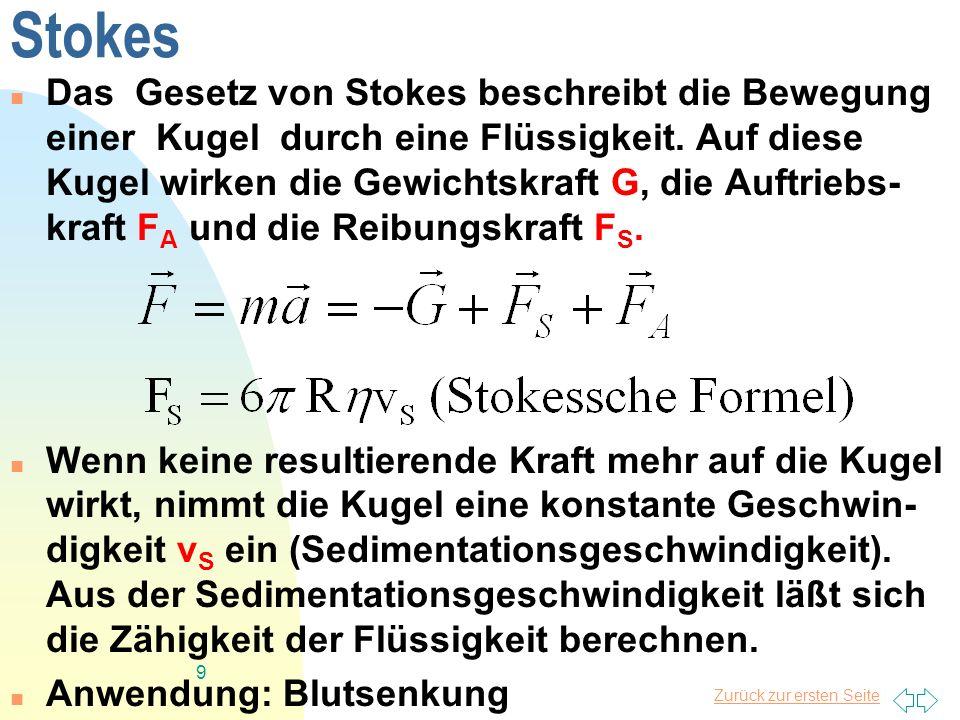 Zurück zur ersten Seite 9 Stokes Das Gesetz von Stokes beschreibt die Bewegung einer Kugel durch eine Flüssigkeit. Auf diese Kugel wirken die Gewichts