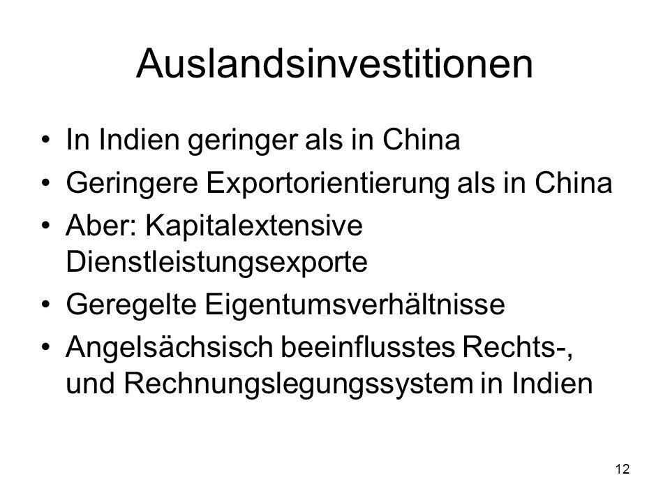 12 Auslandsinvestitionen In Indien geringer als in China Geringere Exportorientierung als in China Aber: Kapitalextensive Dienstleistungsexporte Gereg