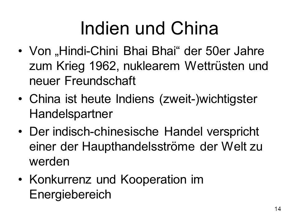 14 Indien und China Von Hindi-Chini Bhai Bhai der 50er Jahre zum Krieg 1962, nuklearem Wettrüsten und neuer Freundschaft China ist heute Indiens (zwei