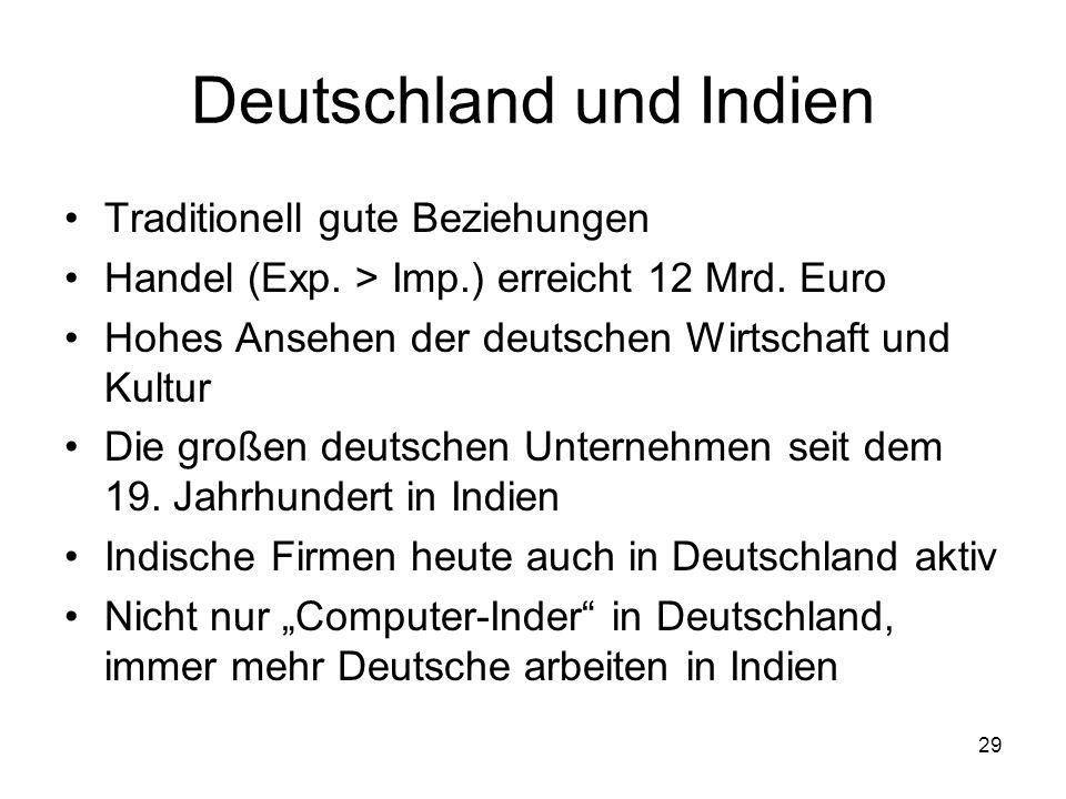 29 Deutschland und Indien Traditionell gute Beziehungen Handel (Exp. > Imp.) erreicht 12 Mrd. Euro Hohes Ansehen der deutschen Wirtschaft und Kultur D