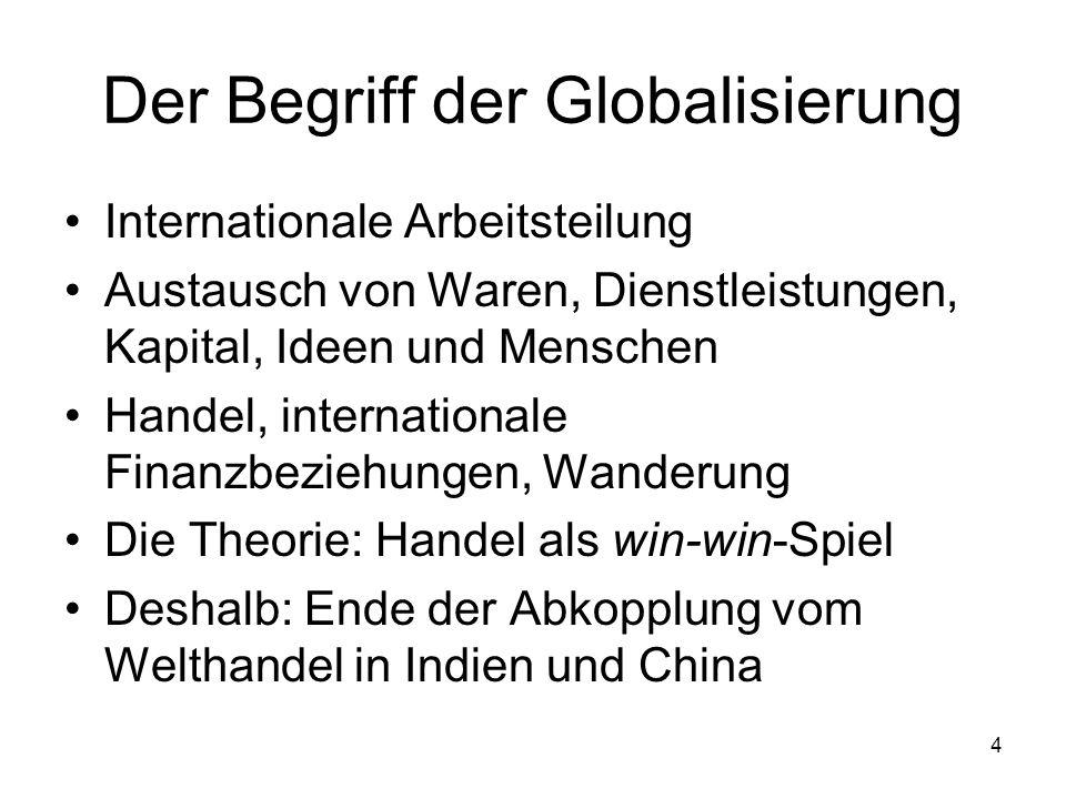 4 Der Begriff der Globalisierung Internationale Arbeitsteilung Austausch von Waren, Dienstleistungen, Kapital, Ideen und Menschen Handel, internationa