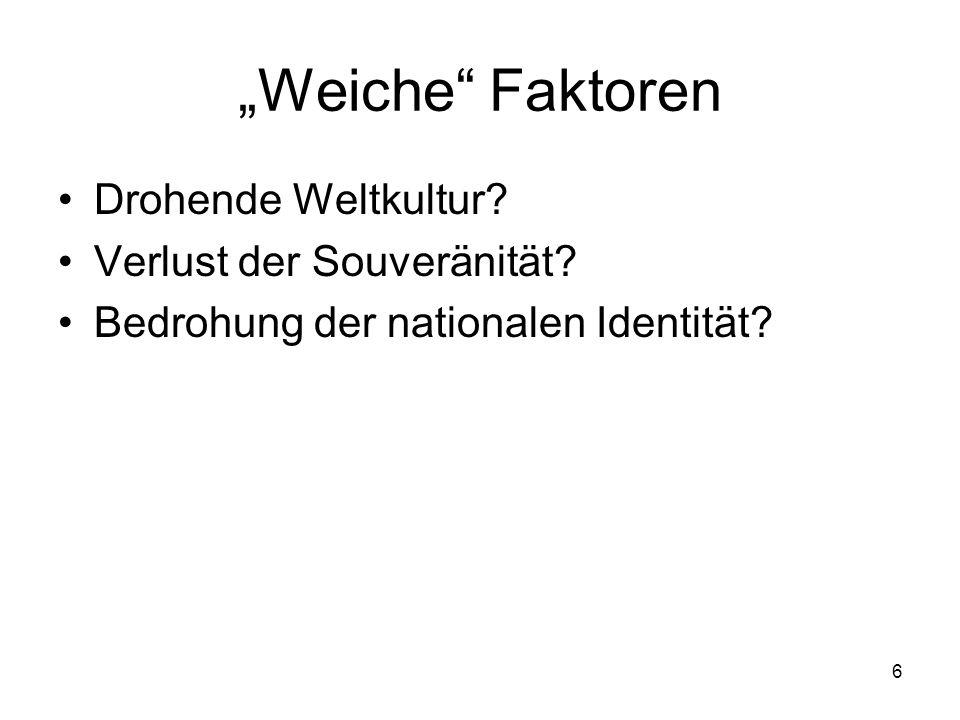 6 Weiche Faktoren Drohende Weltkultur? Verlust der Souveränität? Bedrohung der nationalen Identität?