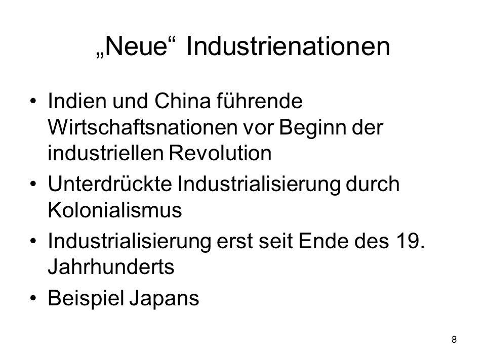 8 Neue Industrienationen Indien und China führende Wirtschaftsnationen vor Beginn der industriellen Revolution Unterdrückte Industrialisierung durch K