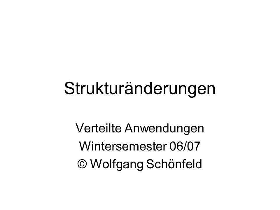 Strukturänderungen Verteilte Anwendungen Wintersemester 06/07 © Wolfgang Schönfeld