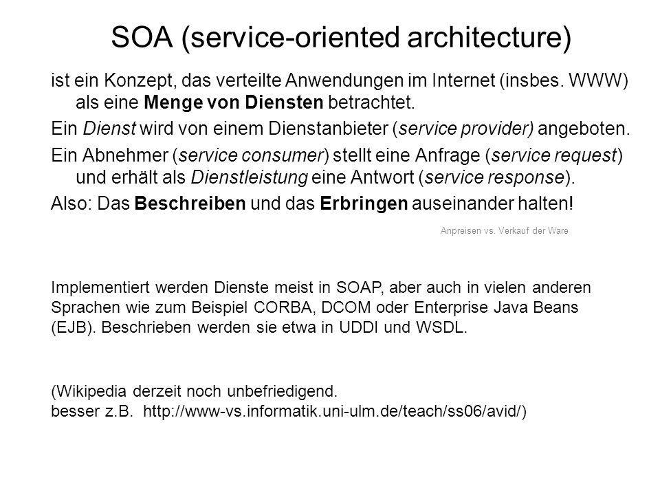 SOA (service-oriented architecture) ist ein Konzept, das verteilte Anwendungen im Internet (insbes.