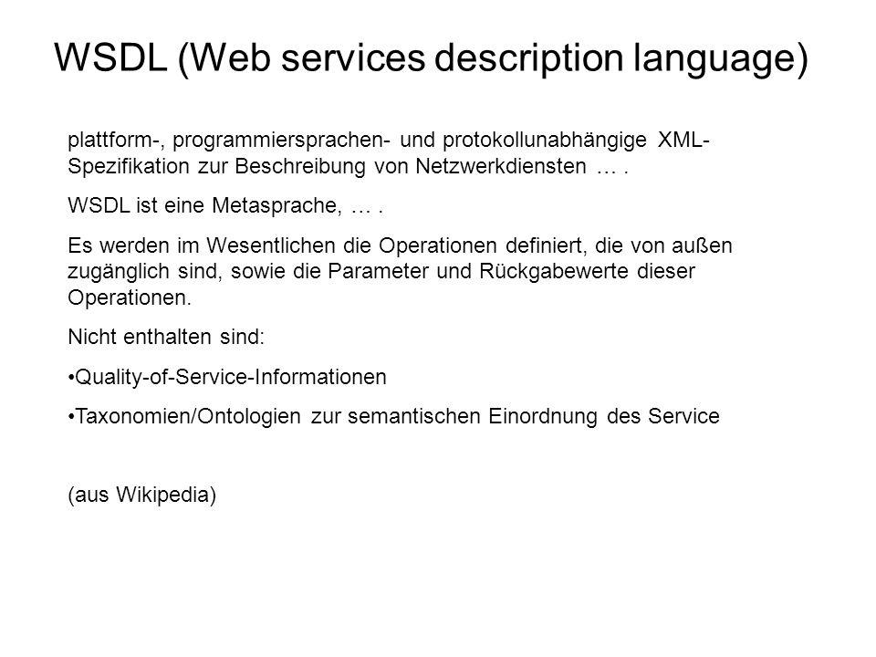 plattform-, programmiersprachen- und protokollunabhängige XML- Spezifikation zur Beschreibung von Netzwerkdiensten ….