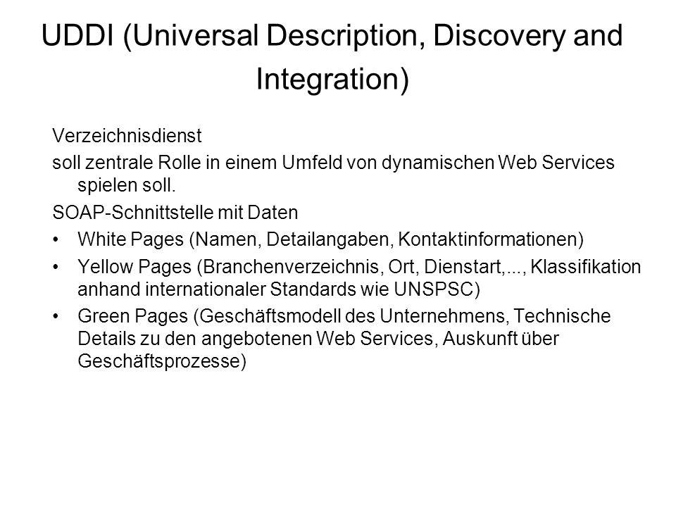 UDDI (Universal Description, Discovery and Integration) Verzeichnisdienst soll zentrale Rolle in einem Umfeld von dynamischen Web Services spielen soll.
