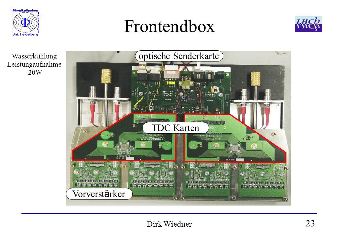 23 Dirk Wiedner Frontendbox optische Senderkarte TDC Karten Vorverst ä rker Wasserk ü hlung Leistungaufnahme 20W