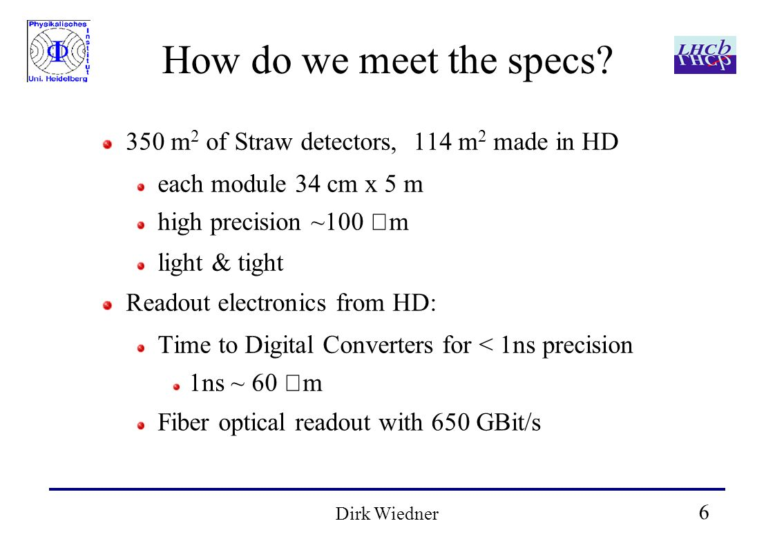 6 Dirk Wiedner How do we meet the specs? 350 m 2 of Straw detectors, 114 m 2 made in HD each module 34 cm x 5 m high precision ~100 m light & tight Re