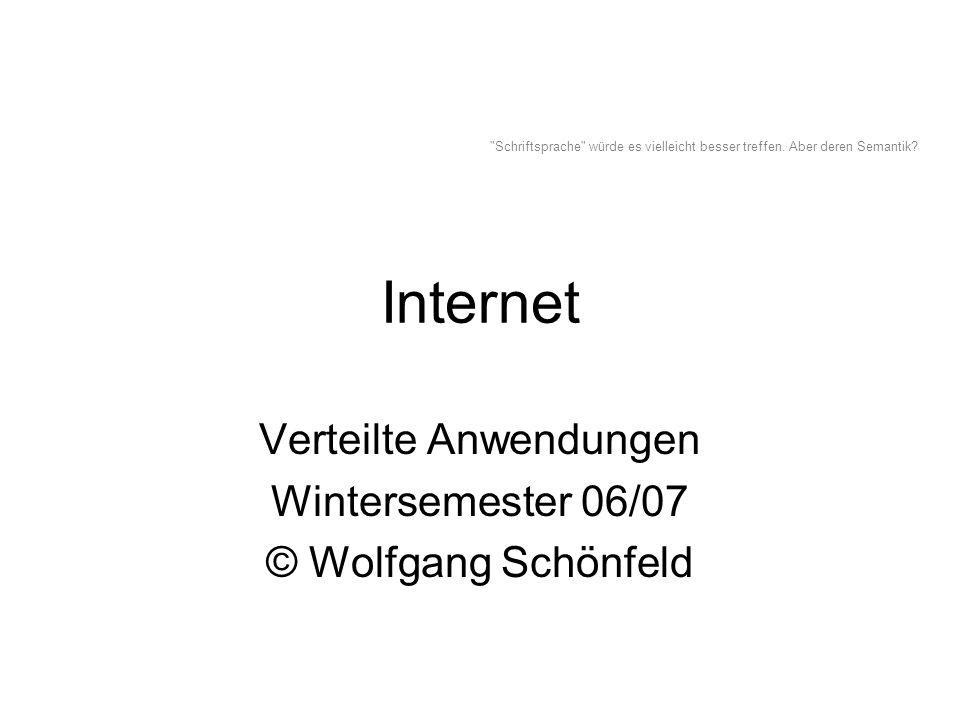 Internet Verteilte Anwendungen Wintersemester 06/07 © Wolfgang Schönfeld