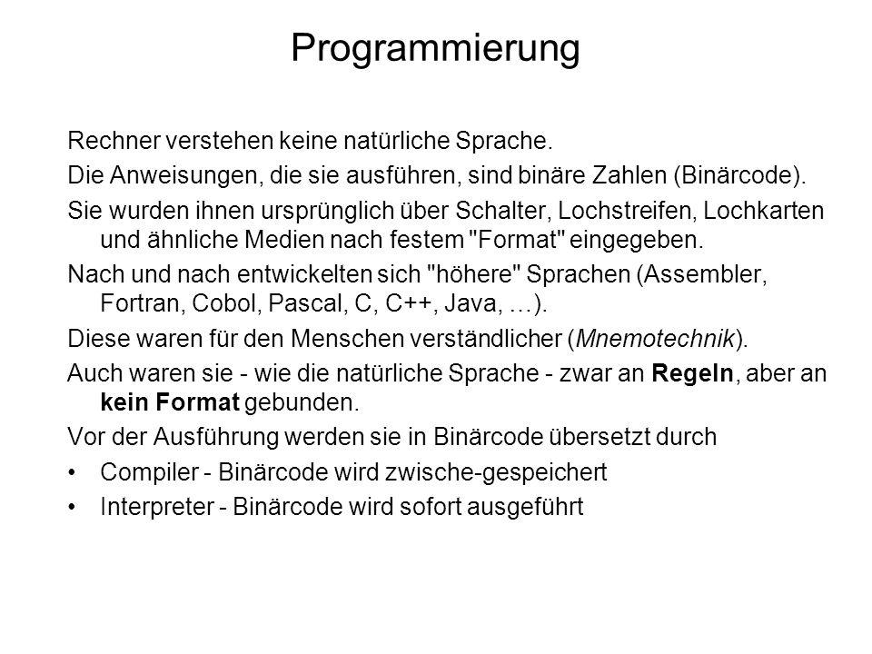 Rechner verstehen keine natürliche Sprache. Die Anweisungen, die sie ausführen, sind binäre Zahlen (Binärcode). Sie wurden ihnen ursprünglich über Sch