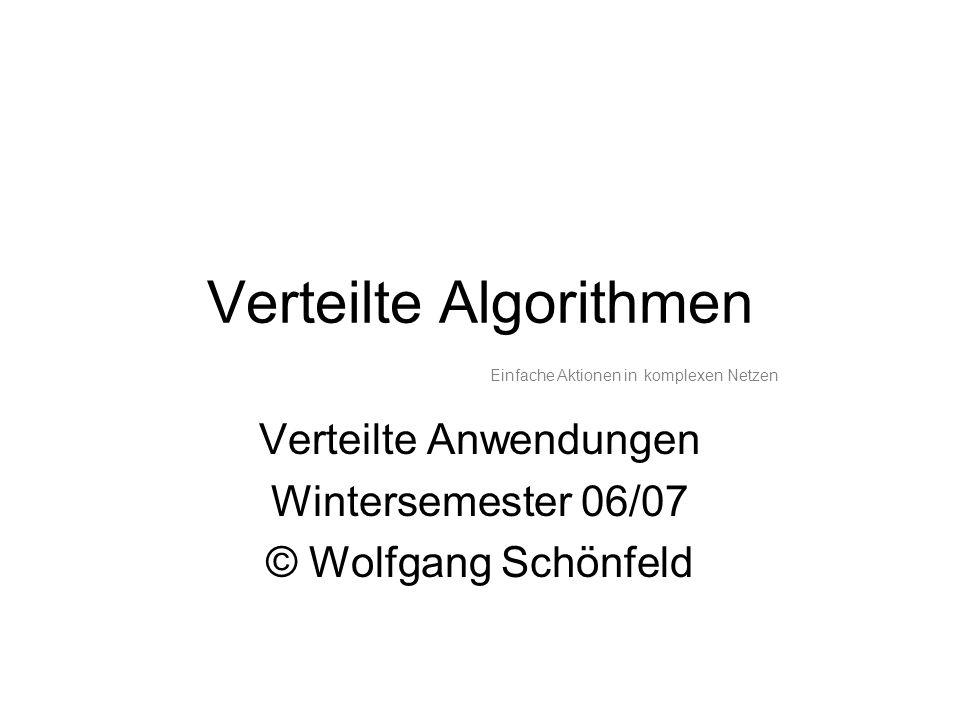 Verteilte Algorithmen Verteilte Anwendungen Wintersemester 06/07 © Wolfgang Schönfeld Einfache Aktionen in komplexen Netzen