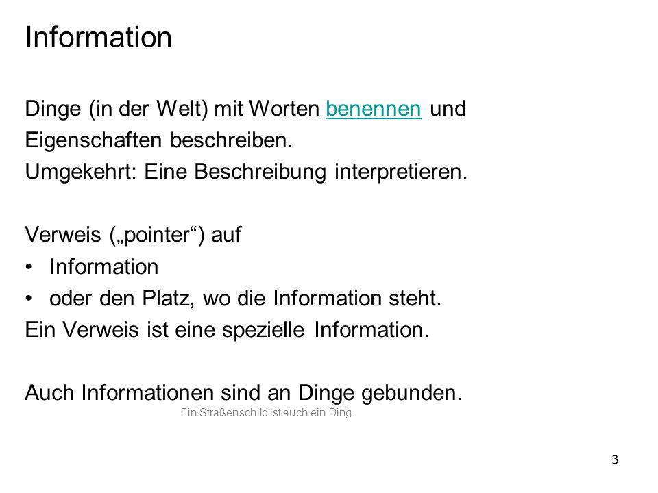 4 Information und Wirklichkeit (Welt) Information Welt Ding Name / Beschreibung bezeichnen / beschreiben interpretieren Stern verweisen