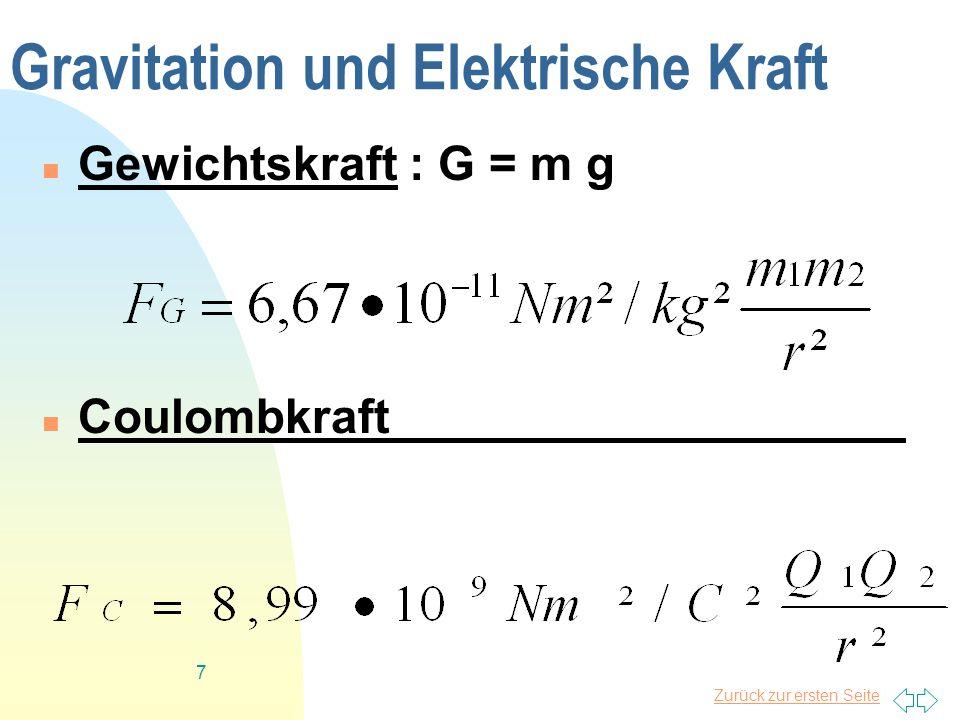 Zurück zur ersten Seite 7 Gravitation und Elektrische Kraft Gewichtskraft : G = m g Coulombkraft