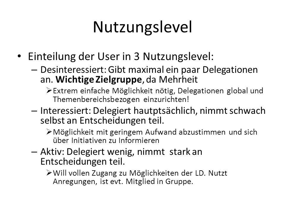 Nutzungslevel Einteilung der User in 3 Nutzungslevel: – Desinteressiert: Gibt maximal ein paar Delegationen an. Wichtige Zielgruppe, da Mehrheit Extre