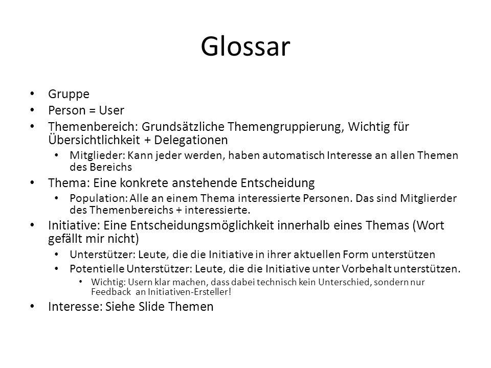Glossar Gruppe Person = User Themenbereich: Grundsätzliche Themengruppierung, Wichtig für Übersichtlichkeit + Delegationen Mitglieder: Kann jeder werd