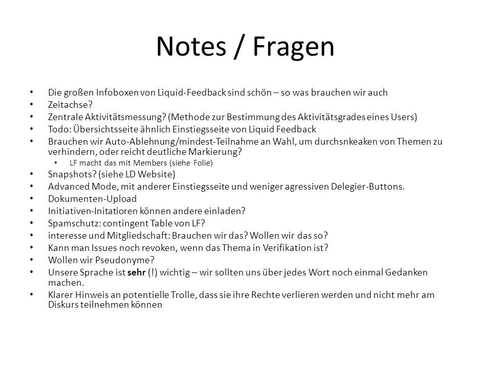 Notes / Fragen Die großen Infoboxen von Liquid-Feedback sind schön – so was brauchen wir auch Zeitachse? Zentrale Aktivitätsmessung? (Methode zur Best